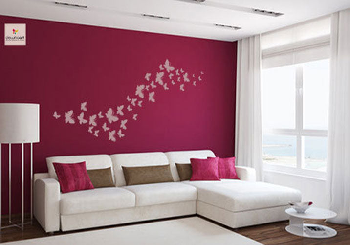 WAVE OF BUTTERFLIES Big & Small Sizes Colour Wall Sticker Shabby Chic Romantic Style 'Bird107'