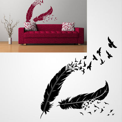 FEATHERS WITH BIRDS WAVE Big & Small Sizes Colour Wall Sticker Shabby Chic Romantic Style 'Deco42'