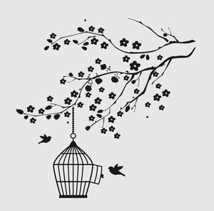 BIRD WITH CAGE ON BRANCH Sizes Reusable Stencil Floral Nature Shabby Chic 'J23'