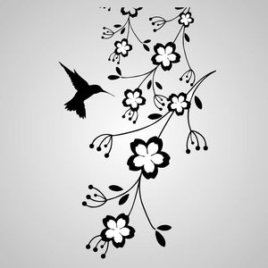 HUMMING-BIRD IN FOWERS Big & Small Sizes Colour Wall Sticker Shabby Chic Romantic Style 'Flora07'