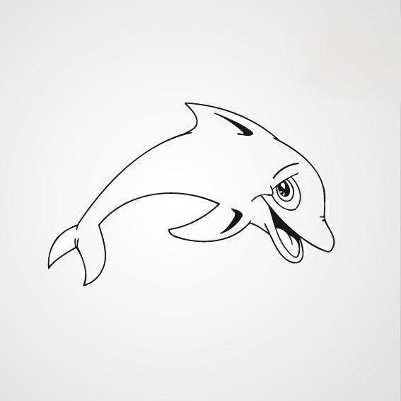 HAPPY DOLPHIN KIDS ROOM Sizes Reusable Stencil Animal Modern Style 'Kids112'