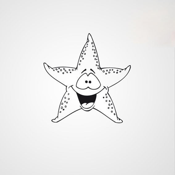 HAPPY STARFISH KIDS ROOM Sizes Reusable Stencil Animal Modern Style 'Kids115'