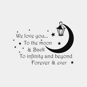 ,LOVE YOU TO THE MOON & BACK..' QUOTE Big & Small Colour Wall Sticker Modern Kids Room 'Kids104'