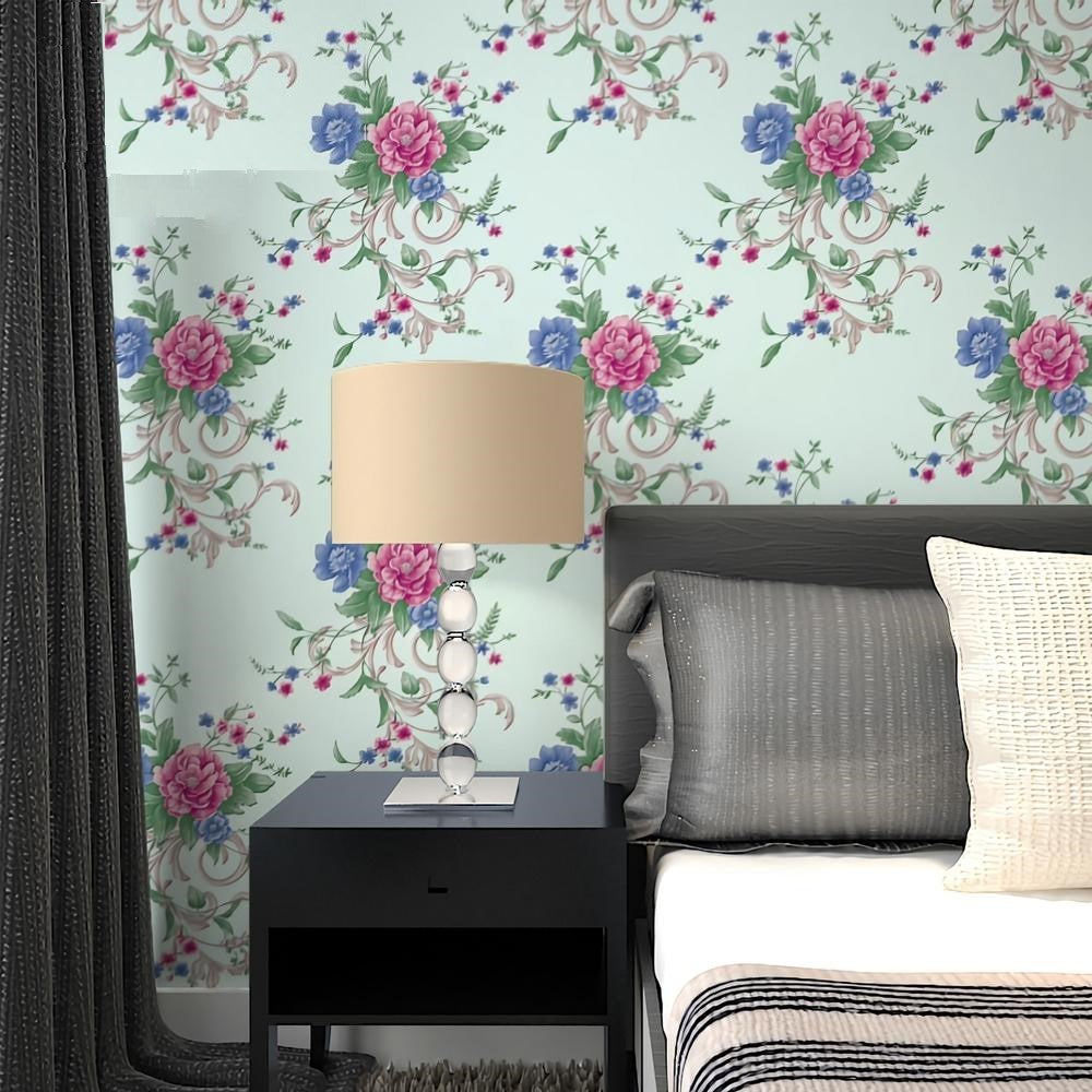 Blue Pink On White Floral Vinyl Wallpaper 10m Roll