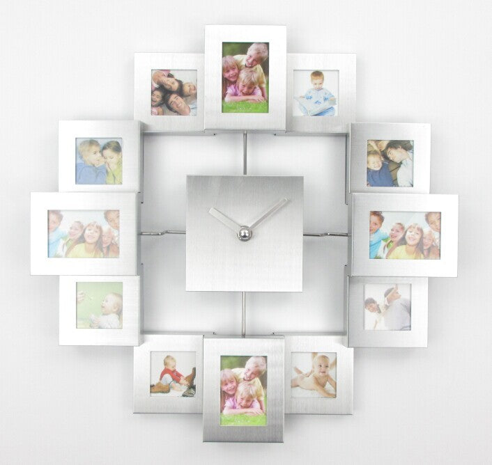 Large Decorative Multi Coloured Wall Mounted Clock with 12 Picture ...