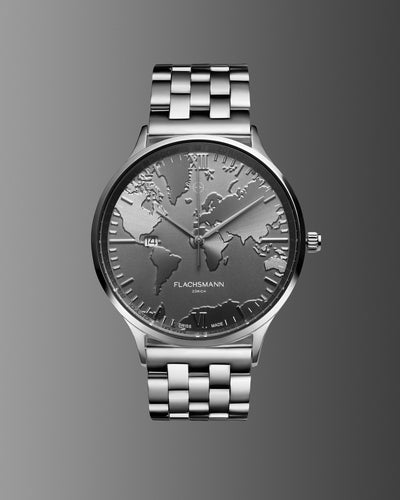 World Traveler Date SG 36.5MM <b>New & Swiss Made</b>, watch, flachsmannwatches.ch, flachsmannwatches.ch- flachsmannwatches.ch