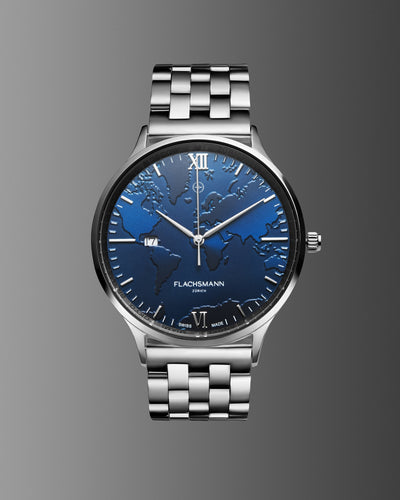 World Traveler Date SBU 36.5MM <b>New & Swiss Made</b>, watch, flachsmannwatches.ch, flachsmannwatches.ch- flachsmannwatches.ch