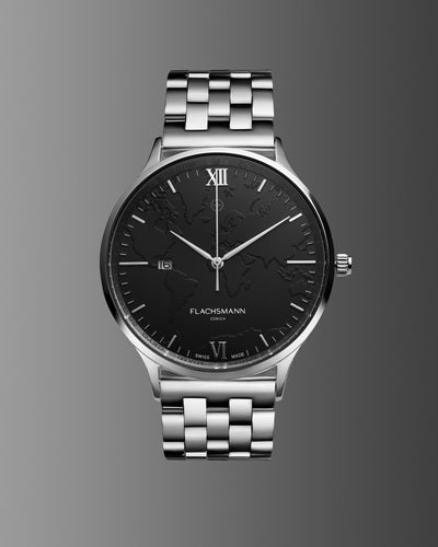 World Traveler Date SB 36.5MM <b>New & Swiss Made</b>, watch, flachsmannwatches.ch, flachsmannwatches.ch- flachsmannwatches.ch