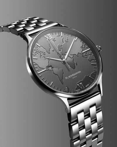 World Traveler Date SG 41MM <b>New & Swiss Made</b>, watch, flachsmannwatches.ch, flachsmannwatches.ch- flachsmannwatches.ch