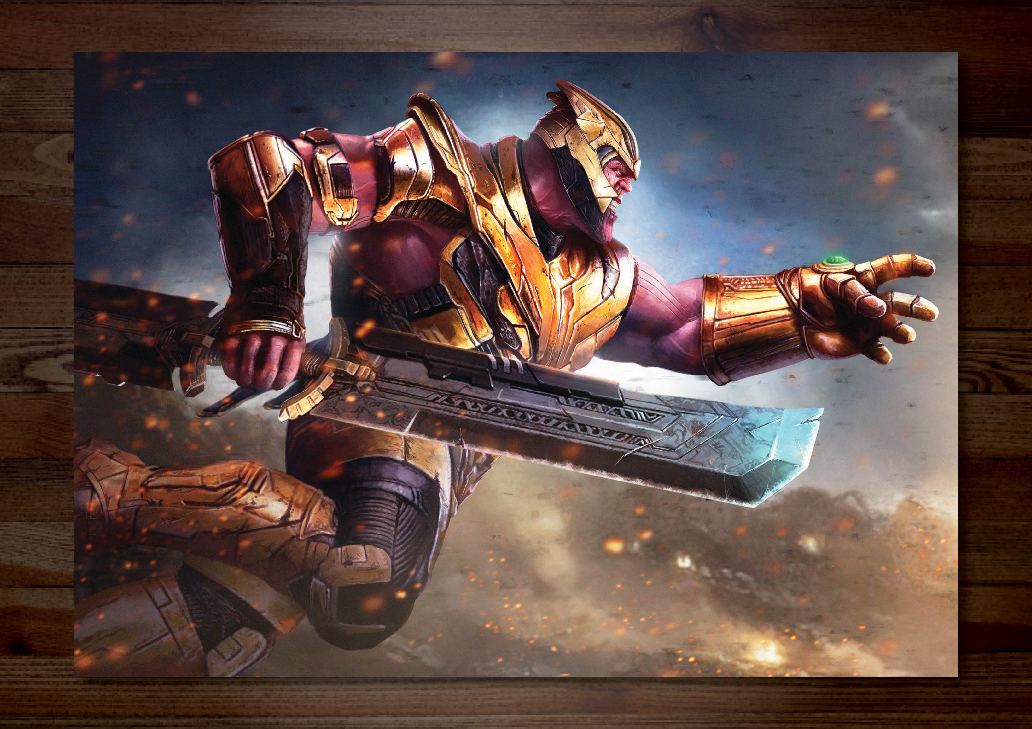 Avengers vs Thanos Battle Combo Art Print