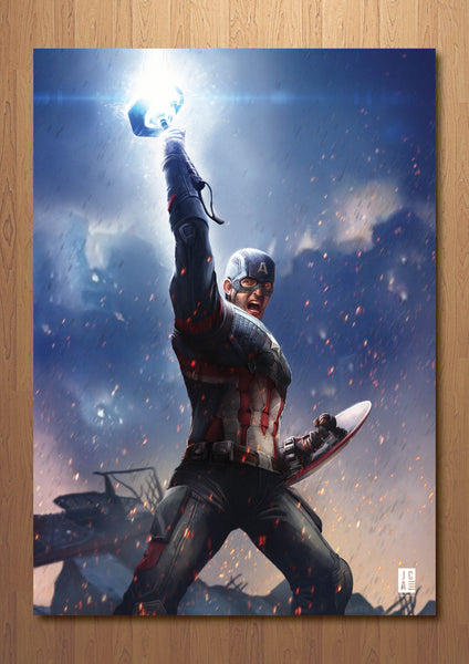 Captain America with Mjolnir Art Print