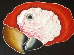 Close-up of the Scarlet Macaw face - hand-painted batik design for the clothing line