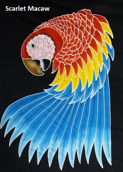 First sample of new Scarlet Macaw hand-painted batik design for our clothing