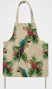 Big Blue and Gold macaw parrots design on a classic kitchen apron