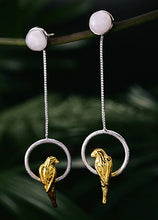 Sterling silver parrot drop earrings - 3 in 1 functionality