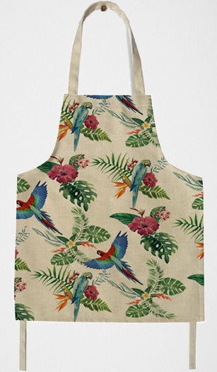 Greenwing and Blue & Gold macaws on a retro-style kitchen apron
