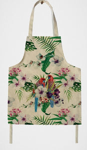 A pair of Rosella parrots on a classic kitchen aprong