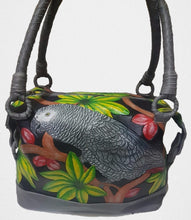 "12"" Congo African Grey hand-tooled, hand-painted leather bag trimmed in grey"