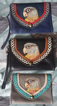 Pineapple conure parrot hand-tooled and hand-painted clutch purse wallet