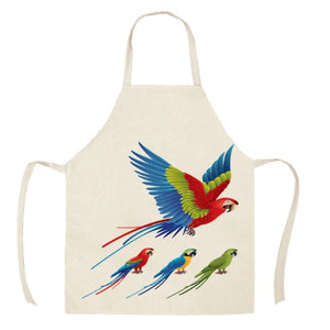 4 Macaws Parrot Kitchen Apron - 1 flying and 3 perched