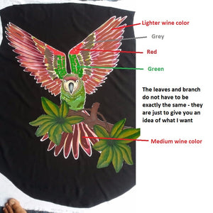 Mock-up for the upcoming Severe macaw parrot hand-painted batik jacket