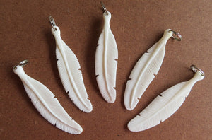 Carved Bone Feather Pendant