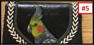 Cockatiel hand tooled handpainted leather travel clutch purse wallet