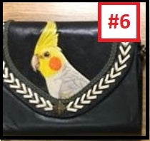 Cockatiel hand-tooled handpainted leather organizer clutch purse wallet