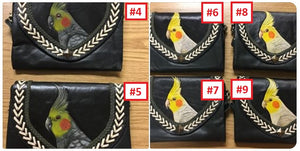 More variations of the Cockatiel hand-tooled, hand-painted leather clutch