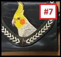 Cockatiel hand-tooled hand-painted leather clutch purse wallet parrot lover gift
