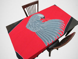 Hand-painted batik African Grey sarong used as a tablecloth