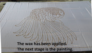 African Grey hand-painted batik sarong - the wax has been applied and is awaiting painting