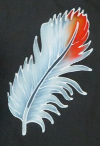 Hand-painted batik feather on the front of the Scarlet macaw jacket