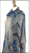 Grey & blue buttery-soft scarf with a gorgeous macaw parrot.