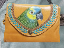 Blue-front Amazon hand-tooled, hand-painted leather clutch wallet purse on Butterscotch leather color
