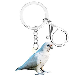 Bare-eyed Cockatoo parrot in partial shadow keyring
