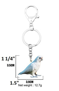 Dimensions of Bare-eyed Cockaoo in partial shadow key ring keychain