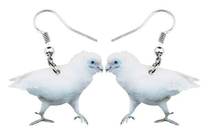 Bare-eyed Cockatoo parrot pierced drop earrings