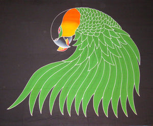 Black-headed Caique parrot hand-painted batik sarong