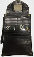 Interior of the black leather Pineapple conure clutch purse wallet