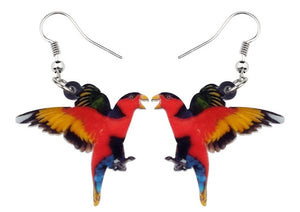 Cute Black-capped Lory pierced acrylic earrings