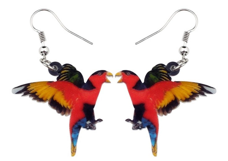 Black-capped Lory pierced acrylic earrings