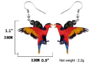 Cute Black-capped Lory pierced acrylic earrings - size chart