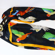Feels like silk, over-sized parrot scarf with lovebirds, macaws, cockatoos & more parrots! An excellent gift for your special parrot person.