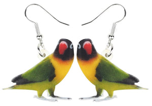 Black masked lovebird parrot pierced drop earrings