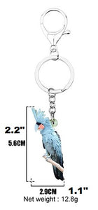 Black Palm Cockatoo key ring keychain with sizes noted