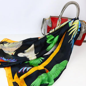 Gift idea! Feels like silk - over-sized evening scarf with cockatiels, macaws, cockatoos & more parrots!