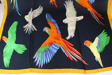 Silk-like, over-sized evening scarf with cockatiels, macaws, cockatoos & more parrots!