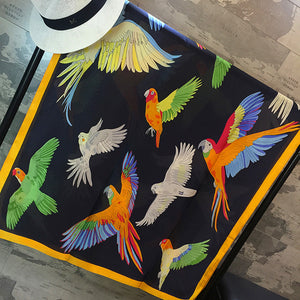 Excellent gift or present of a buttery-soft, luxurious parrot-themed evening scarf