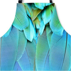 Close-up of blue macaw feathers kitchen apron